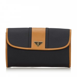 YSL Woven Flap Clutch Bag