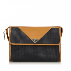 YSL Woven Flap Clutch Bag