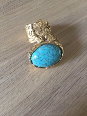 YSL Yves Saint Laurent Arty Ring gold türkis blau - Größe 7