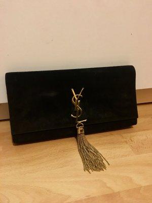 YSL Yves Saint Laurent Clutch schwarz Gold 100% Original mit Rechnung