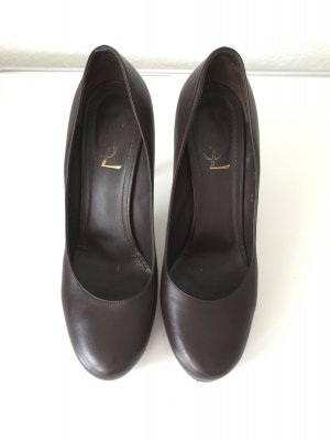 YSL Yves Saint Laurent High Heels Leder Braun 40 Pumps Plateau UK7
