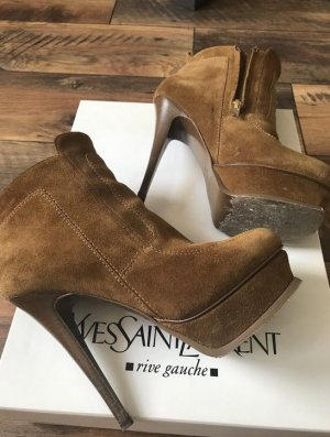 Yves Saint Laurent Bottines à plateforme brun daim