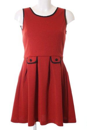 Yumi A-Linien Kleid rot-schwarz Allover-Druck Casual-Look