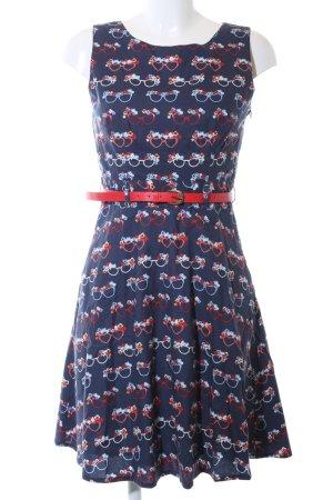 Yumi A-Linien Kleid blau-rot Allover-Druck Elegant
