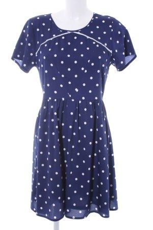 Yumi A-Linien Kleid dunkelblau-weiß Punktemuster Casual-Look