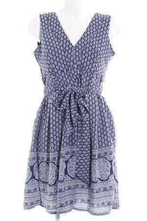 Yumi A-Linien Kleid weiß-dunkelblau florales Muster Casual-Look