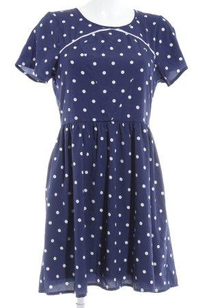 Yumi Vestido babydoll azul oscuro-blanco estampado a lunares estilo romántico