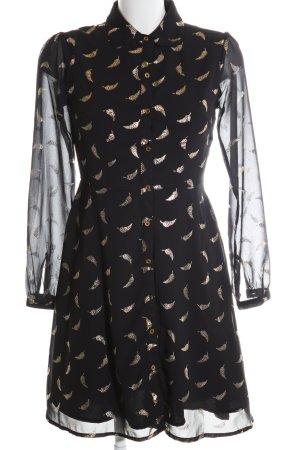 Yumi Blusenkleid schwarz-goldfarben Allover-Druck Casual-Look