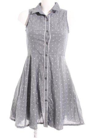 Yumi Blusenkleid graublau-weiß Motivdruck Casual-Look