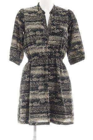 Yumi Blusenkleid schwarz-beige abstraktes Muster Casual-Look