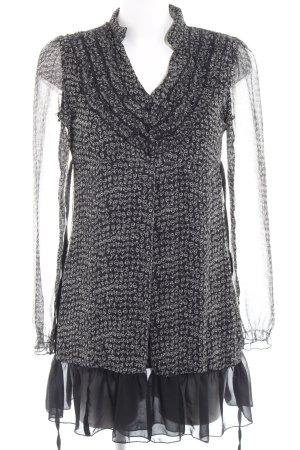 Yumi Blusenkleid schwarz-creme florales Muster schlichter Stil