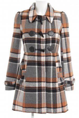 Yumi Heavy Pea Coat glen check pattern elegant