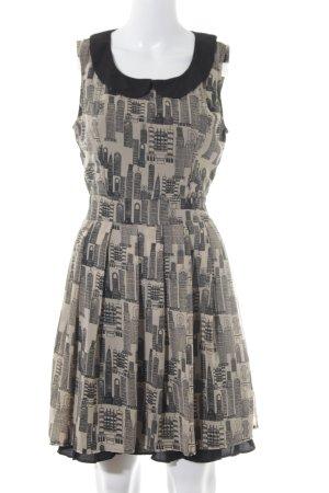 Yumi Chiffonkleid camel-schwarz Motivdruck Street-Fashion-Look