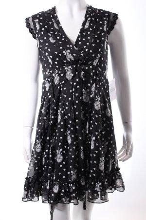 Yumi Empirekleid schwarz-weiß Herzmuster Romantik-Look