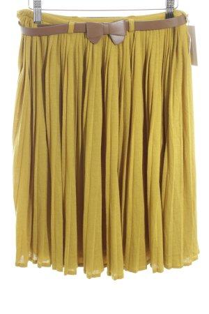 Yumi Jupe à plis jaune citron vert style décontracté