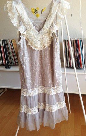 YUMI Kleid Perlen Spitze Sommer Hochzeit NEU L 42 M flieder grau top schick 40