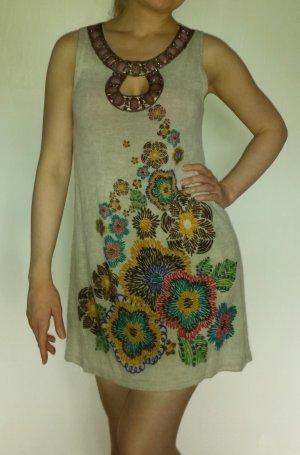 YUMI Kleid Strickkleid Sommerkleid mehrfarbig Blumen Steinchen sexy Größe S/M