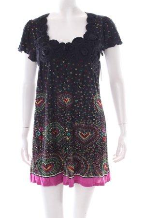 Yumi Jurk met korte mouwen abstract patroon Textiel applicatie