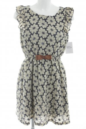 Yumi Kurzarmkleid dunkelblau-hellgelb Blumenmuster Retro-Look