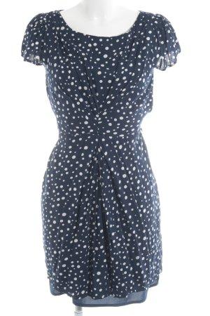 Yumi Kurzarmkleid dunkelblau-weiß Punktemuster klassischer Stil