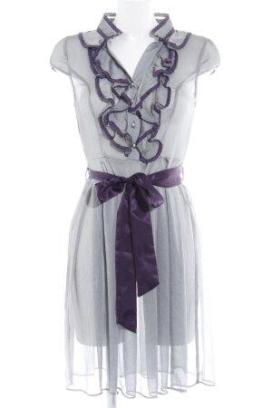 Yumi Kurzarmkleid grau-dunkelviolett Casual-Look