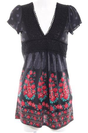 Yumi Kurzarmkleid schwarz-grau florales Muster Casual-Look