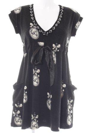 Yumi Kurzarmkleid schwarz-hellbeige Motivdruck klassischer Stil