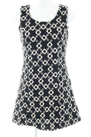 Yumi Kurzarmkleid schwarz-wollweiß Blumenmuster Elegant