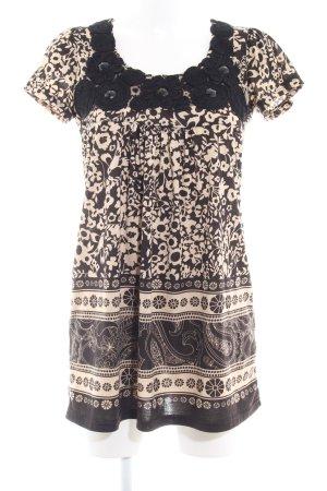 Yumi Longshirt schwarz-creme florales Muster Casual-Look