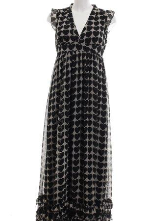 Yumi Maxikleid schwarz-wollweiß Allover-Druck Elegant