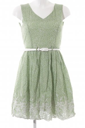 Yumi Midikleid grasgrün-weiß abstraktes Muster Casual-Look