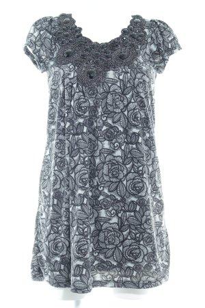 Yumi Minikleid hellgrau-schwarz abstraktes Muster Casual-Look
