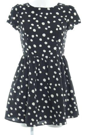 Yumi Minikleid schwarz-hellbeige Punktemuster Romantik-Look