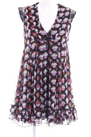 Yumi Minikleid schwarz-lila Motivdruck Spitzen-Optik