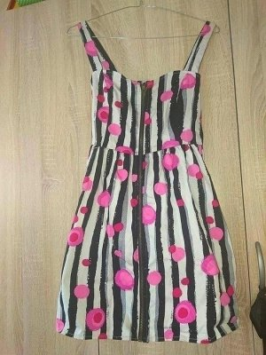 Yumi Sommer Kleid gestreift Blüten S schwarz weiß pink