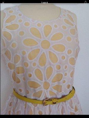 Yumi spitzen Kleid weiß/gelb uK Gr.12