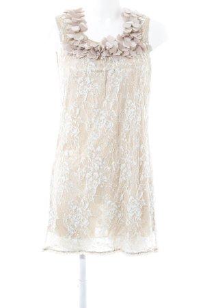 Yumi Spitzenkleid beige-himmelblau florales Muster 70ies-Stil