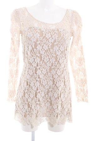 Yumi Spitzenkleid hellbeige-beige florales Muster Spitzen-Optik