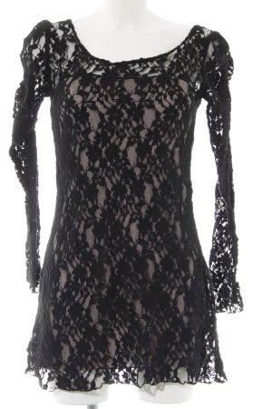 Yumi Spitzenkleid schwarz-blasslila Blumenmuster Spitzen-Optik