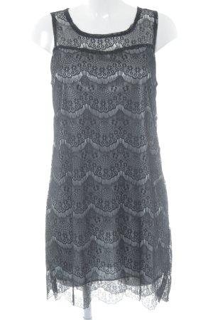 Yumi Spitzenkleid schwarz-graugrün florales Muster Lingerie-Look