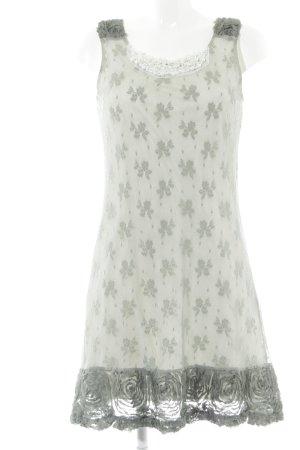 Yumi Spitzenkleid wollweiß-khaki Blumenmuster Vintage-Look