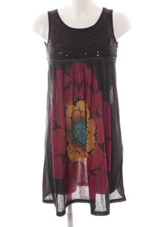 Yumi Strandkleid schwarz-violett florales Muster Hippie-Look