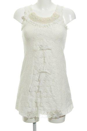 Yumi Strickkleid creme-wollweiß Lochstrickmuster klassischer Stil