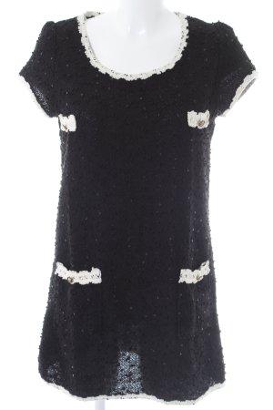 Yumi Abito di maglia nero-beige chiaro stile classico