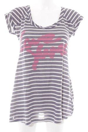 Yumi T-Shirt wollweiß-graublau Streifenmuster Casual-Look
