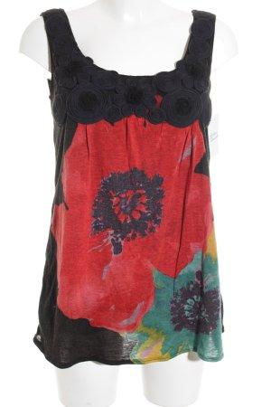 Yumi Trägertop schwarz-rot Blumenmuster Elegant