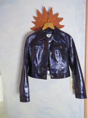 Yuppie cropped Lederjacke 80s Metallic Blau Bolerojacke 36 S Jeansjacke