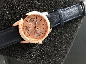 Yves Camani Horloge met lederen riempje roségoud-donkerblauw Edelstaal
