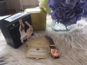 Yves Camani Uhr Chronograph rosegold Echt Leder Armband wie Neu