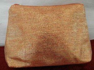 Yves Rocher Kosmetiktasche, kleine Make-Up Tasche, Schminktasche Orange metalic